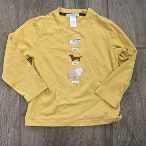 Janie & Jack Yellow Dogs Long Sleeve Shirt Size 3